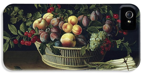 Still Life With A Basket Of Fruit And A Bunch Of Asparagus IPhone 5s Case by Louise Moillon