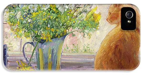 Pheasant iPhone 5s Case - Striped Jug With Spring Flowers by Timothy Easton
