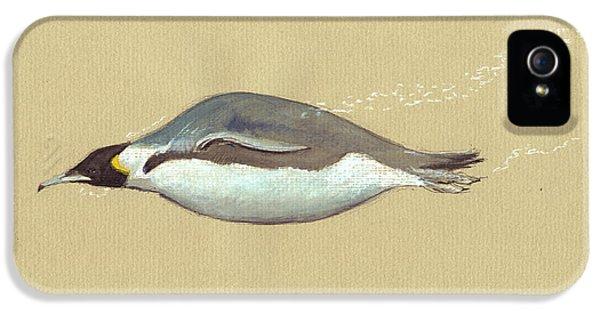 Penguin iPhone 5s Case - Swimming Penguin Painting by Juan  Bosco