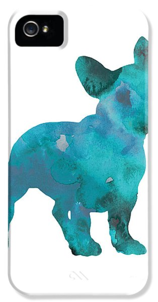 Teal Frenchie Abstract Painting IPhone 5s Case by Joanna Szmerdt