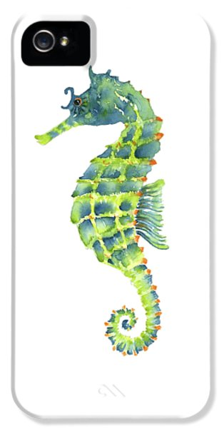 Teal Green Seahorse - Square IPhone 5s Case by Amy Kirkpatrick