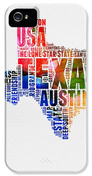 Austin iPhone 5s Case - Texas Watercolor Word Cloud  by Naxart Studio