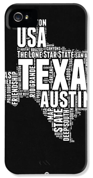 Austin iPhone 5s Case - Texas Word Cloud Black And White Map by Naxart Studio