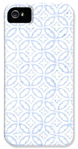 Pattern iPhone 5s Case - Textured Blue Diamond And Oval Pattern by Gillham Studios