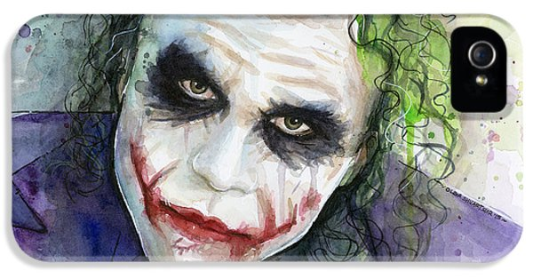 The Joker Watercolor IPhone 5s Case by Olga Shvartsur