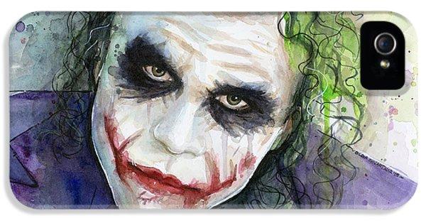 The Joker Watercolor IPhone 5s Case by Olga Shvartsur