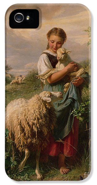 Sheep iPhone 5s Case - The Shepherdess by Johann Baptist Hofner