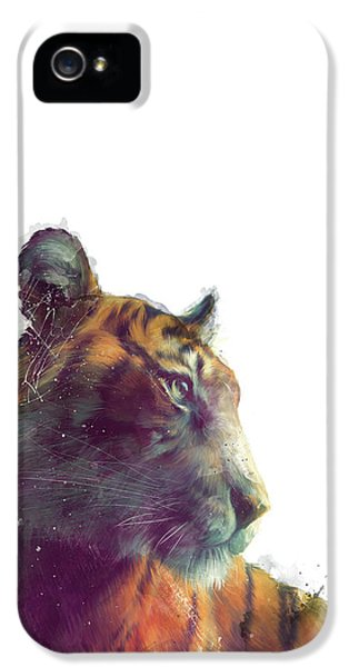 Tiger // Solace - White Background IPhone 5s Case by Amy Hamilton