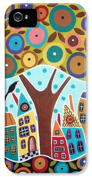 Blackbird iPhone 5s Case - Tree Eight Houses And A Bird by Karla Gerard