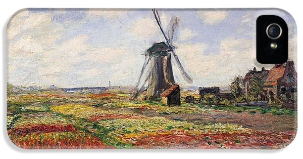 Tulip iPhone 5s Case - Tulip Fields With The Rijnsburg Windmill by Claude Monet