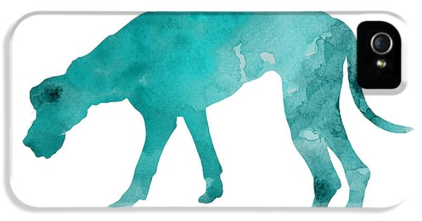 Turquoise Great Dane Watercolor Art Print Paitning IPhone 5s Case by Joanna Szmerdt