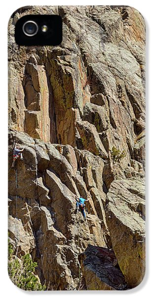 IPhone 5s Case featuring the photograph Two Rock Climbers Making Their Way by James BO Insogna