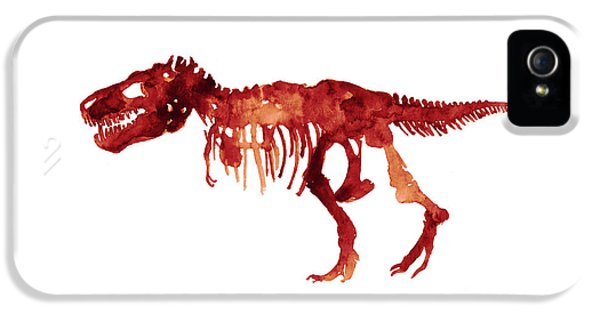 Tyrannosaurus Rex Skeleton Poster, T Rex Watercolor Painting, Red Orange Animal World Art Print IPhone 5s Case by Joanna Szmerdt