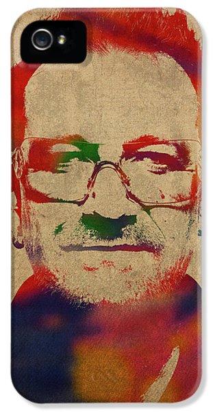 Bono iPhone 5s Case - U2 Bono Watercolor Portrait by Design Turnpike
