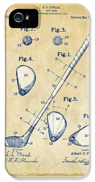 Vintage 1910 Golf Club Patent Artwork IPhone 5s Case by Nikki Marie Smith