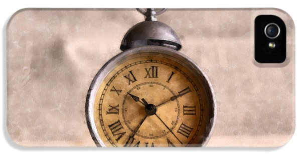 Clock iPhone 5s Case - Vintage Alarm Clock Watercolor by Edward Fielding
