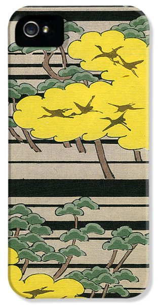 Vintage Japanese Illustration Of An Abstract Forest Landscape With Flying Cranes IPhone 5s Case by Japanese School