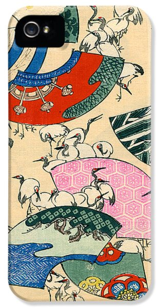 Vintage Japanese Illustration Of Fans And Cranes IPhone 5s Case by Japanese School