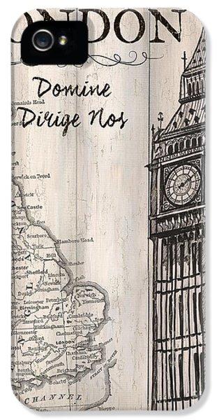 Clock iPhone 5s Case - Vintage Travel Poster London by Debbie DeWitt