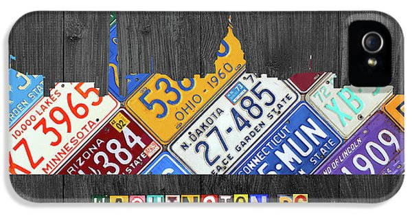 Washington Monument iPhone 5s Case - Washington Dc Skyline Recycled Vintage License Plate Art by Design Turnpike