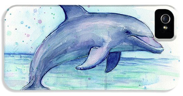 Dolphin iPhone 5s Case - Watercolor Dolphin Painting - Facing Right by Olga Shvartsur