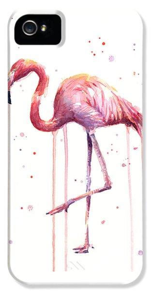 Watercolor Flamingo IPhone 5s Case by Olga Shvartsur