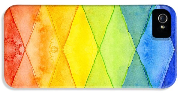 Watercolor Rainbow Pattern Geometric Shapes Triangles IPhone 5s Case by Olga Shvartsur