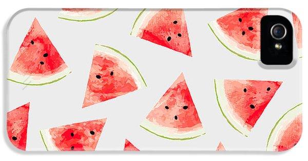 Watermelon iPhone 5s Case - Watercolor Watermelon Pattern by Uma Gokhale