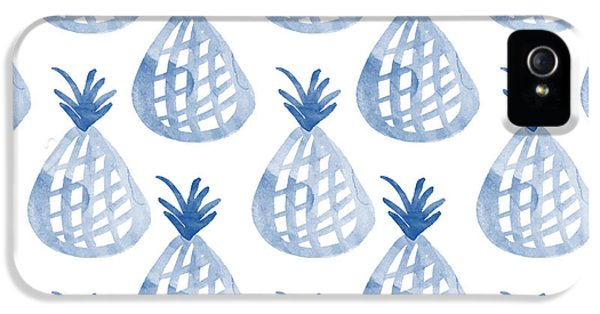 Garden iPhone 5s Case - White And Blue Pineapple Party by Linda Woods