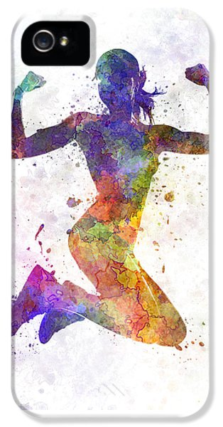 Woman Runner Jogger Jumping Powerful IPhone 5s Case