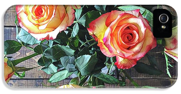 Peach iPhone 5s Case - Wood And Roses by Shadia Derbyshire