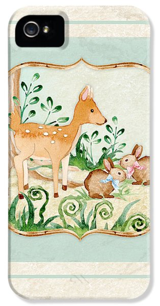 Woodland Fairy Tale - Deer Fawn Baby Bunny Rabbits In Forest IPhone 5s Case by Audrey Jeanne Roberts