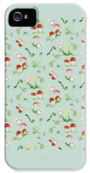 Woodland Fairy Tale - Red Mushrooms N Owls IPhone 5s Case by Audrey Jeanne Roberts