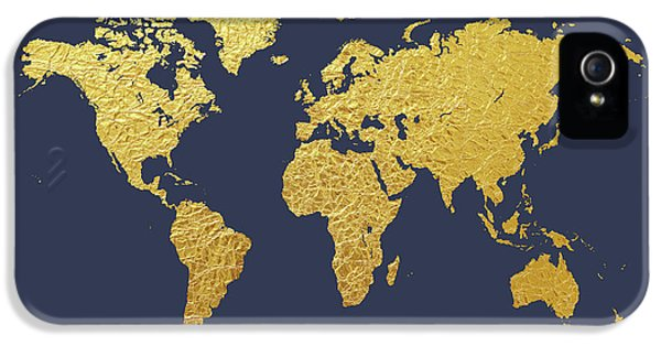 Planets iPhone 5s Case - World Map Gold Foil by Michael Tompsett