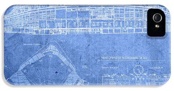 Chicago iPhone 5s Case - Wrigley Field Chicago Illinois Baseball Stadium Blueprints by Design Turnpike