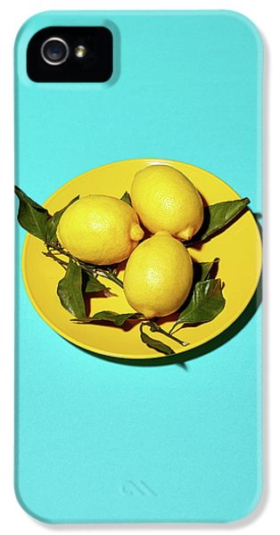 Yellow Lemons On Cyan IPhone 5s Case by Oleg Cherneikin