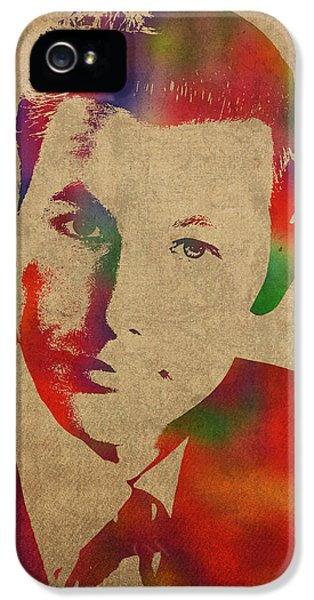 Johnny Carson iPhone 5s Case - Young Johnny Carson Watercolor Portrait by Design Turnpike