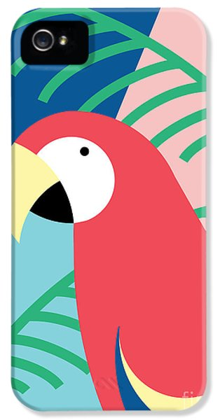 Pastel Colors iPhone 5s Case - Tropical Bird In Abstract Geometric by Radiocat