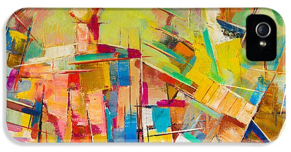 Pastel Colors iPhone 5s Case - Abstract Colorful Oil Painting On Canvas by Gurgen Bakhshetyan