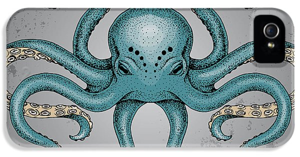 Etching iPhone 5s Case - Blue Octopus With Grunge Background In by Maria Sem