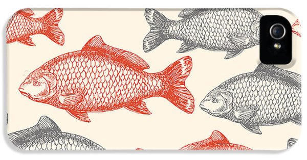 Etching iPhone 5s Case - Carp Fish Asian Style Seamless Pattern by Adehoidar