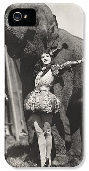 Armed iPhone 5s Case - Circus Performer Posing With Elephant by Everett Collection