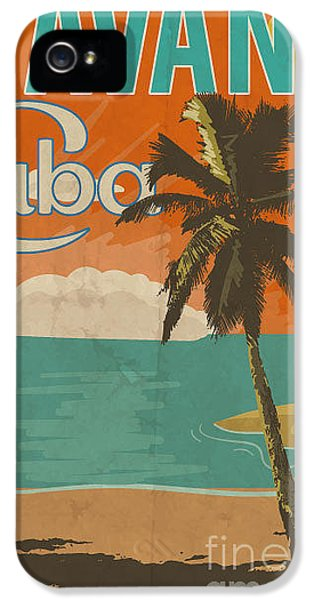 1950s iPhone 5s Case - Cuba Havana Poster Illustration by Yusuf Doganay