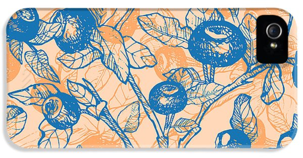 Etching iPhone 5s Case - Drawn Hand Blueberry Twigs With by Artdeeva