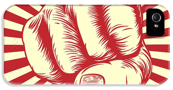 Etching iPhone 5s Case - Fist Punching In A Vintage Propaganda by Christos Georghiou