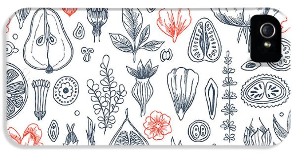 Etching iPhone 5s Case - Floral Elements Background. Linear by Adehoidar