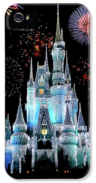 Castle iPhone 5s Case - Magic Kingdom Castle In Frosty Light Blue With Fireworks 06 by Thomas Woolworth