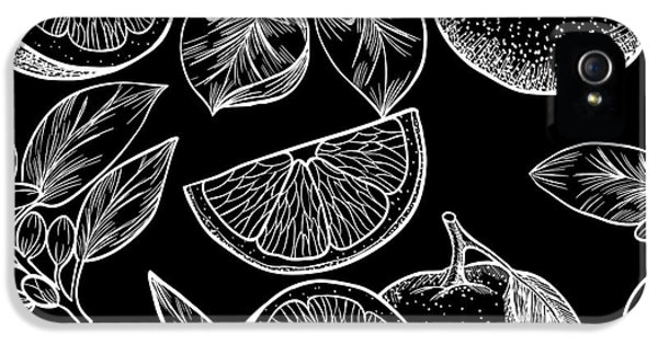 Etching iPhone 5s Case - Oranges  And Flowers. Vector Seamless by Rina Oshi