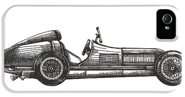 Etching iPhone 5s Case - Retro Racing Car On A White Background by Ava Bitter