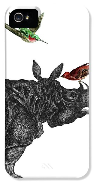 Humming Bird iPhone 5s Case - Rhinoceros With Birds Art Print by Madame Memento